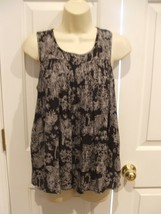 NWT $32 A.N.A  BLACK/ WHITE PALM SLEEVELESS TUNIC TANK TOP PETITE SMALL - $21.77