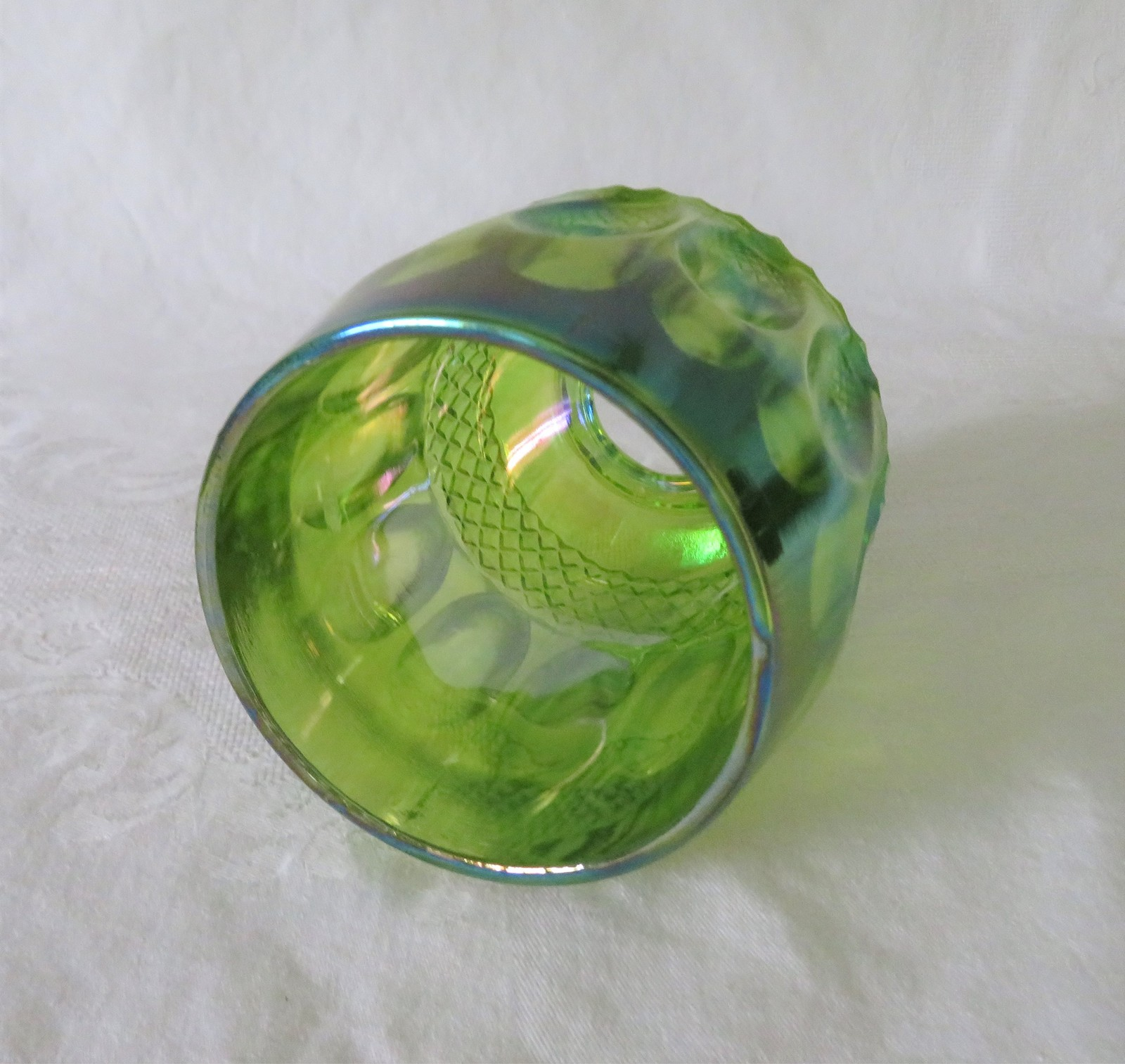 Westmoreland, Waterford, Fairy Lamp Replacement Top, Lime Green Carnival Glass image 2
