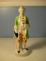 Japan Dresden-style Colonial Man Figurine Green Coat Polka Dot Breeches ... - $9.72