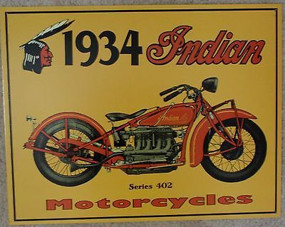 Indian Motorcycle 1934 Series 402 Metal Sign Tin New Vintage Style USA  #37