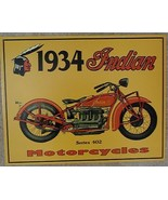 Indian Motorcycle 1934 Series 402 Metal Sign Tin New Vintage Style USA  #37 - $10.29