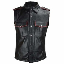 Men Genuine Real Black/W Color Piping Sheepskin Leather Police Uniform Shirt Gay - $79.19+