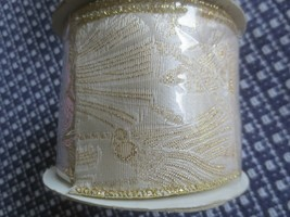 "New 2 1/2"" Wide Cream & Metallic Gold Design Wired Ribbon Roll - 10 Yd. - $5.94"