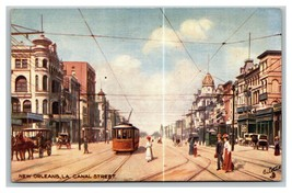 Vintage 1900's Tuck's Postcard Canal Street Cable Cars Buggies New Orlea... - $25.71