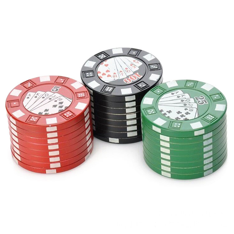 42mm 3 Piece Poker Chip Style Tobacco Herb Grinder Metal Spice Crusher Zinc Allo
