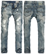 Europe and The United States Men's Jeans Light Blue Hole Wear White Slim... - $31.62