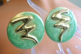 Fabulous Aqua Enamel Art Moderne Gold-tone Pierced Earrings 1980s vintag... - $12.30