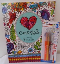 COLORING Book by Courtney Morgenstern BEAUTIFULLY ILLUSTRATED PLUS 3 GEL... - $8.09