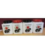 Vintage Milk Glass Spice Shakers / jars - red blossoms -red floral - $95.29 CAD