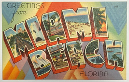 Old VTG Linen Era Postcard Greetings From Miami Beach Florida Unposted - $11.71