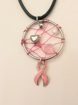 Handmade pink silver and white breast cancer necklace - $10.00