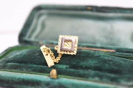 Vintage Gold lapel pin art deco theme #L24 - $12.23
