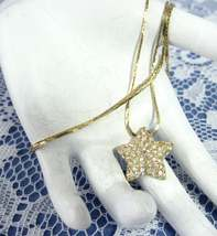 Necklace Gold Rhinestone Star Long Gold Filled Cobra Chain 1980s Starfish  - $16.00