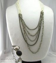 Vintage Style Necklace Multi Strand Imitation Pearls Chains & Bracelet - $9.95