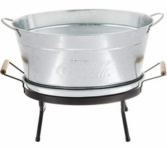Coca-Cola 6 Gallon Galvanized Beverage Tub with Stand Embossed Script Logo - $96.53