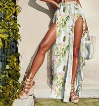 New white-green floral beachwear set bikini skirt women beach cover up s... - $29.00