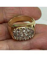 1.50 Ct Round Cluster Diamond Men's Pinky Engagement Ring 14k Yellow Gol... - $106.31