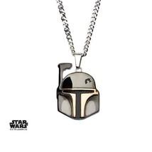 Disney Star Wars Stainless Steel Boba Fett Helmet Pendant with Chain - $39.20