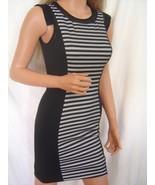 New BEBE Bonded Black Gray Dress Striped sz XS Summer Spring - $29.75