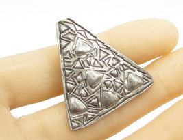 925 Sterling Silver - Vintage Triangular Detail Brooch Pin Pendant BP1139 - $28.01
