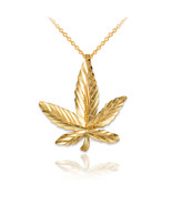 10K Yellow Gold Marijuana Leaf Cannabis DC Charm Necklace - $59.99+