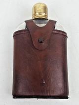 Vintage Brown Vinyl Button Snap Glass Gold Tone Shot Glass Alcohol Flask - $12.00