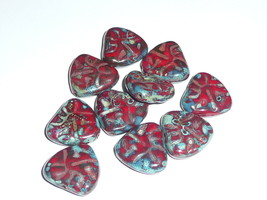 Awesome Czech Glass Chunky Triangle Red & Picasso Carved Heart Beads 17m... - $8.49