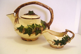 McCoy Pottery Teapot and Creamer 2 Piece Set Green Ivy 1940s Mid Century - $60.00