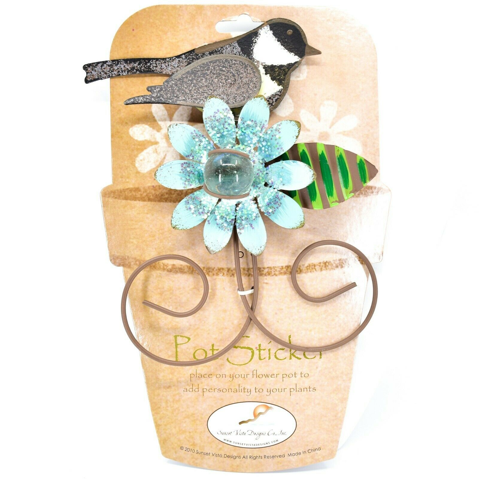 Chickadee w Blue Flower Metal Garden Pot Sticker Decoration