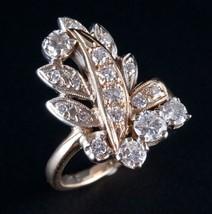 Vintage 1940's 14k Yellow & White Gold Round Cut Diamond Cocktail Ring 1... - $1,860.00
