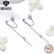 Hot Sale Long Chain Earrings 925 Sterling Silver T Bar Korean Long Chain... - $15.45