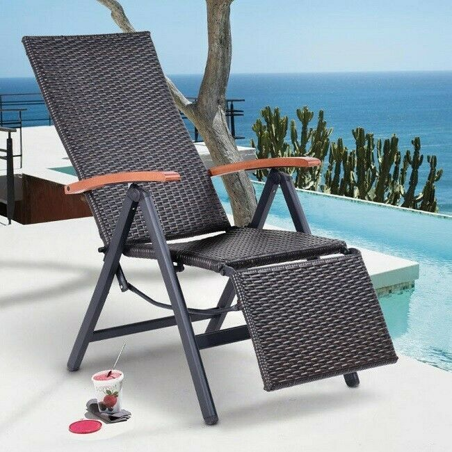 Folding Chaise Lounge Chair Outdoor Rattan Adjustable Pool Patio Beach Furniture