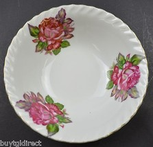 """White China Rose Design Gold Trimmed Bowl 6"""" Round Collectible Tableware Roses - $8.99"""