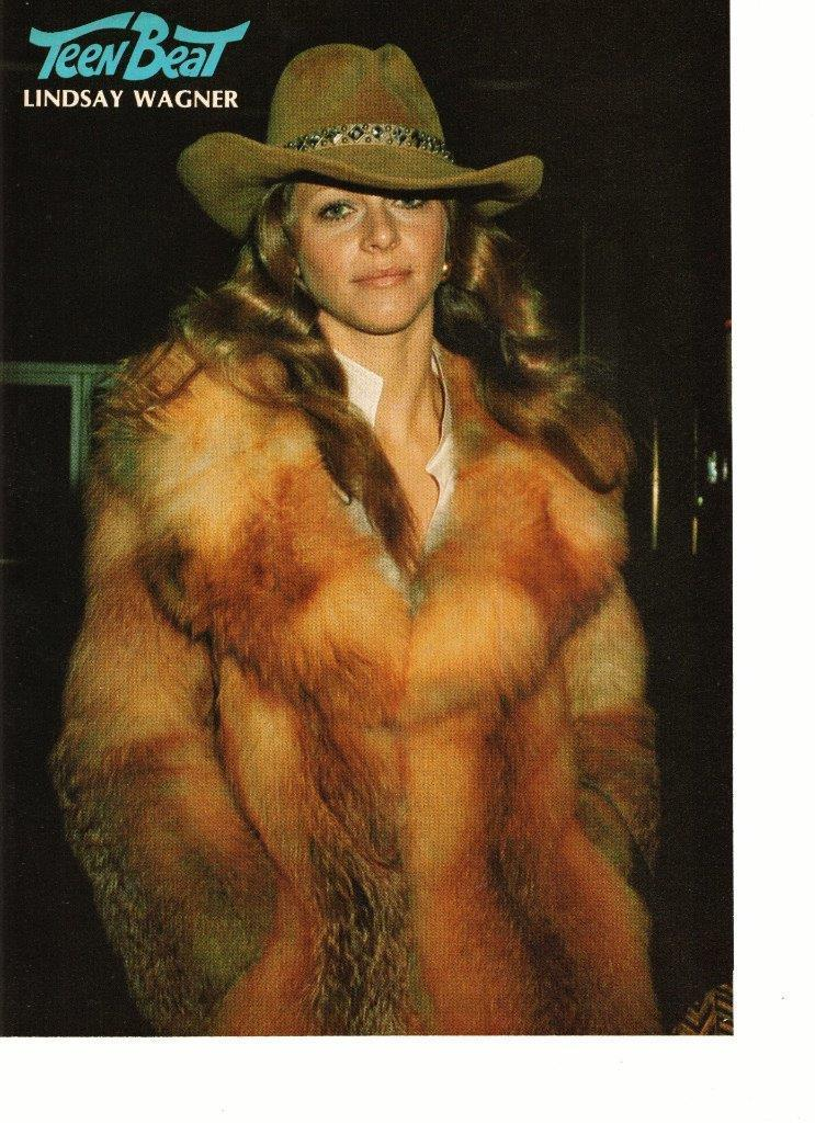 Lindsay Wagner teen magazine pinup clipping huge fur coat on hat 1970's