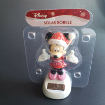 Disney Minnie Mouse Santa Christmas Bobble Head Dancing Hands Solar Powe... - $9.45