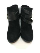$1050 Jimmy Choo 133Melba Sun Black Suede Leather Block Ankle Bootie Size 35 - $594.00