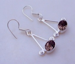Smoky Stone Silver Overlay Jewelry Earring-OJ-210-16 - $3.99