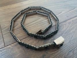 Vintage Armenian Soviet Belt 1960s with Black Onyx, Armor Link Belt - $118.00