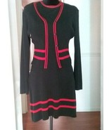French Curve 2 pc Dress & Sweater Set Red & Black Medium - $28.45