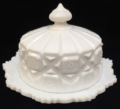 Westmoreland Butter Dish Plate w/ Lid Cheese White Milk Glass Old Quilt ... - $18.80