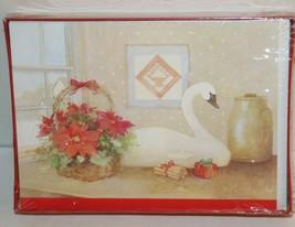 18 VINTAGE Christmas Card Envelope Cleo By Gibson SWAN BIRD pond scene USA - $15.63