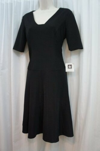 Anne Klein Dress Sz 4 Black A-Line Flare Sheath Career Cocktail Dress
