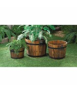 Apple Barrel Planters with Black Metal Banding and Handles Patio Decor S... - $71.23