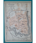 "1905 BAEDEKER MAP - Belgium Ypres City Town Plan 4"" x 6"" (10 x 15 cm) - $6.75"