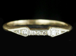 Antique Art Deco Delicate 14k Yellow Gold 7 Diamond Ring Band sz 6.5 - $359.99