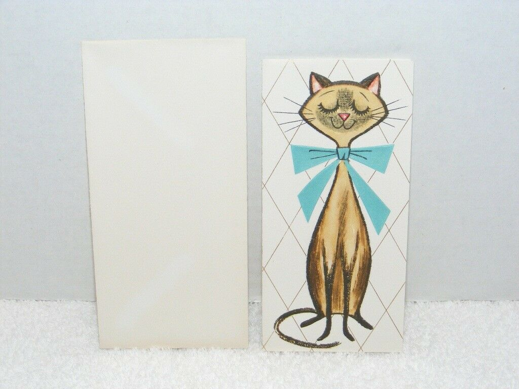 Primary image for VINTAGE 1950's-60's GIBSON LETTER-ETTES CAT IMAGE BLANK GREETING CARD 2614-6 EUC
