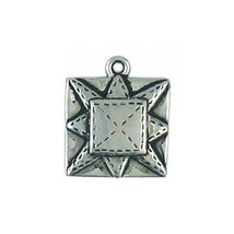 QUILTING SQUARE FINE PEWTER CHARM PENDANT - 19mm  x 16mm x 3mm
