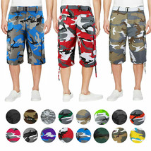 Men's Tactical Military Army Camo Camouflage Slim Fit Cargo Shorts With Belt image 1