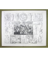 POSEIFON Triumps Greek Gods Mythology Death Sleep - 1844 SUPERB Engravin... - $16.84