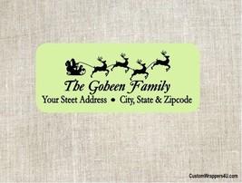 Christmas Holiday Santa Sleigh Reindeer Return Address Labels Personalized - $4.95